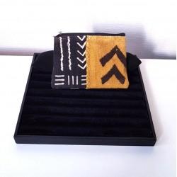 Pochettes plates zipé en Bogolan